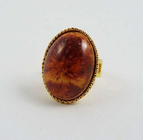 Vevey Burnt Tones Only: Handmade Gold Tone Oval Yellow Burnt Orange Jasper Stone