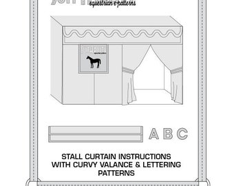PDF Stall Curtain Instructions with Curvy Valance and Lettering Pattern