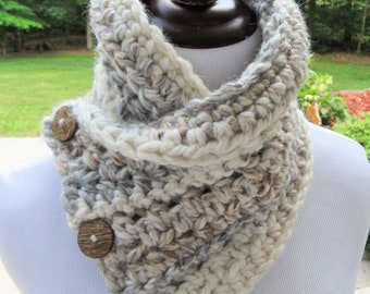 Chunky Cowl, Button Cowl, Boston Harbor Scarf, Crochet Cowl, Bulky Scarf, Gift For Her, Winter Accessory, Neck Warmer, Christmas Gift