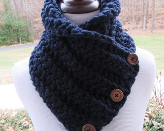 Navy Blue Scarf, Button Cowl, Crochet Scarf, Boston Harbor Scarf, Winter Accessory, Gift for Her, Wool Blend, Chunky Cowl, Handmade