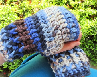 Chunky Fingerless Gloves, Crochet Gloves, Arm Warmers, Hand Warmers, Gift for Her, Winter Accessory, Multi Blue Brown, Ivory, Boho Gloves