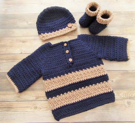 Diaper Cover Booties Set  Newborn 3 Months Handmade Crochet Baby Sweater,Hat