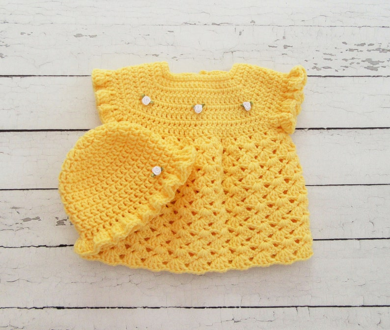 Infant Outfit Yellow Baby Dress Crochet Baby Dress Baby Dress Set Hat Newborn Dress Baby Photo Prop Summer Baby Dress New Baby Gift