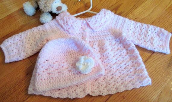 bf0e7c5b4 Pink Baby Sweater Baby Hat Crochet Baby Sweater Set Newborn