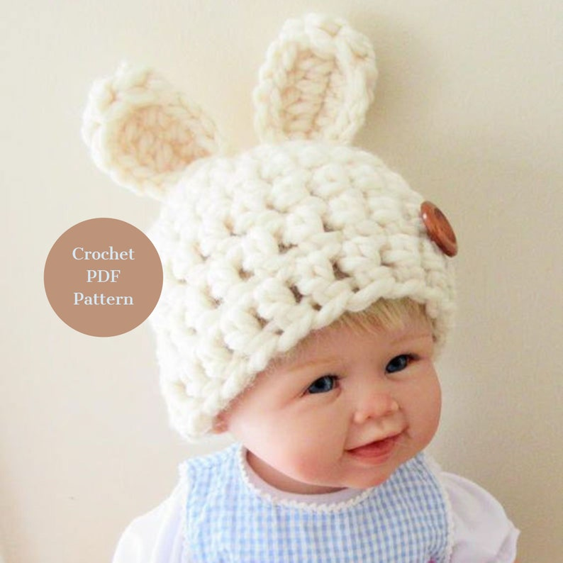 d0b98a797 Crochet PATTERN, PDF PATTERN, Baby Bunny Hat, Chunky Bunny Hat, Bunny  Beanie, Newborn Hat, Infant Photo Prop, Easter Bunny Hat, Baby Easter