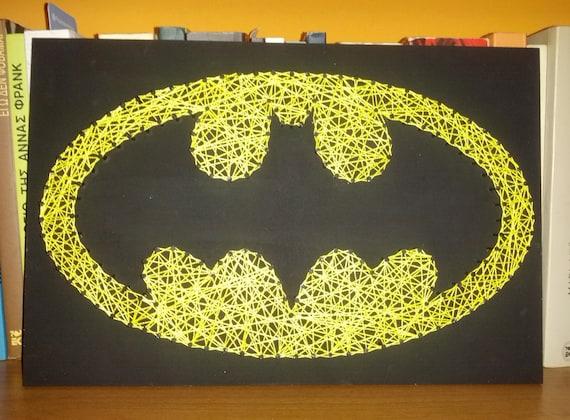 Handmade String Art Nail Art Batman Sign Wall Decoration
