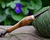 Hand turned (size G 4 mm) Katalox, Hornbeam and Robinia Curly wood Crochet Hook, G size Ergonomic Crochet hook, 4 mm crochet needle, 1092