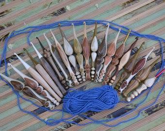 Hand turned Ergonomic Custom Crochet Hooks of two woods (Hornbeam, Black Locust, Honey Locust, Pear, Apricot, Walnut etc.) Made to order