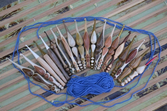 Hand turned Ergonomic Custom Crochet Hooks of two woods (Hornbeam, Black Locust, Honey Locust, Pear, Apricot, Walnut etc.) Made to order