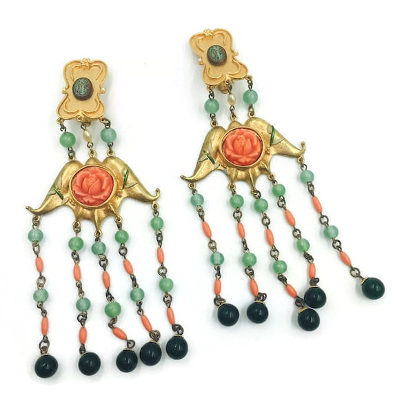 Vintage Chandelier Rose and Bead Earrings 1980's