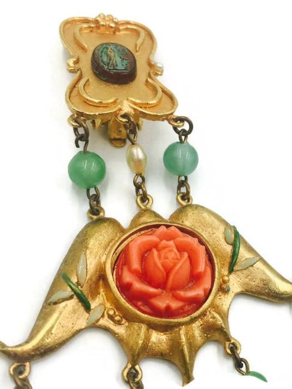 Vintage Chandelier Rose and Bead Earrings 1980's - image 3