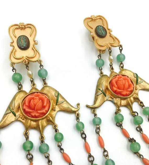 Vintage Chandelier Rose and Bead Earrings 1980's - image 2