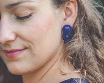 COBALT CRYSTAL large earrings soutache avant garde earrings unique earrings royal blue crystal jewelry large earrings