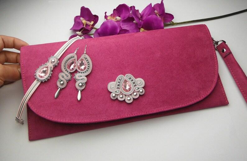 5570316d2bd4c Soutache TOREBKA i komplet biżuterii sutasz FUKSJA kopertówka