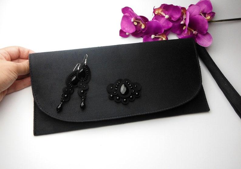 f1bcce7040f0a Soutache KOLCZYKI KOPERTÓWKA czarny komplet sutasz elegancka
