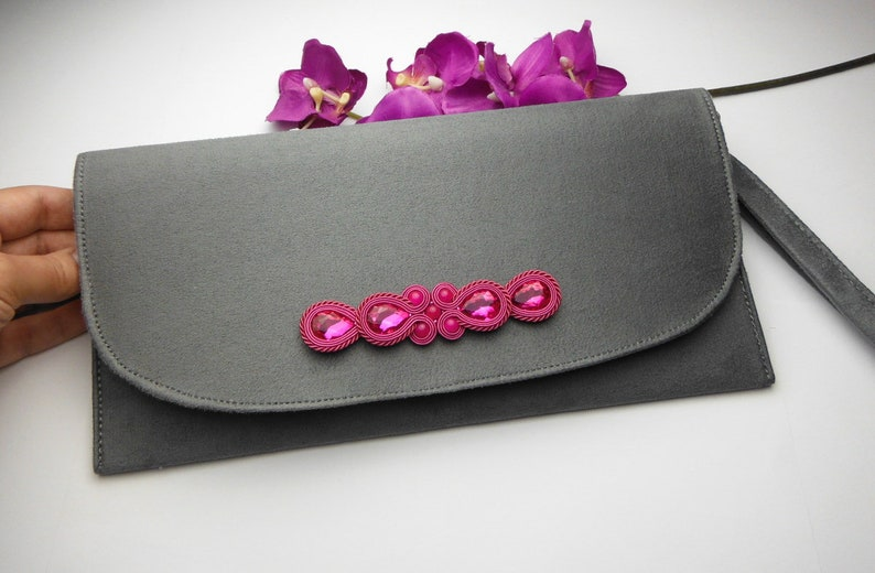 9c172ddffcd87 Soutache TOREBKA KOPERTÓWKA szara siwa fuksja róż różowa