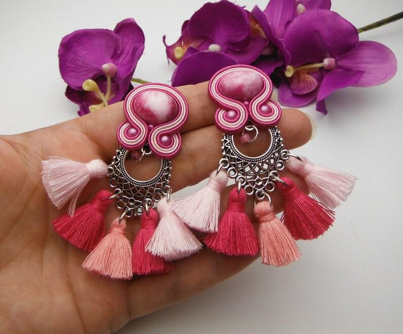GYPSY PRINCESS  soutache earrings TASSEL pink rose fucsia fuchsia gold handmade hand made jewellery jewellry