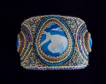 Beaded Cuff, Bead Embroidered Cuff, Beaded Bracelet Cuff