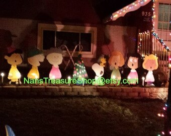 handmade wood outdoor 8 piece charlie brown christmas set - Handmade Wooden Outdoor Christmas Decorations
