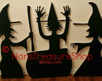 Silhouette Witches  Outdoor Halloween Yard Art!