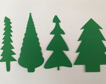 Quirky Evergreen Trees Card Stock Paper Cut Outs (12 count)
