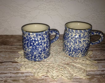 Blue and White Mugs