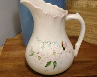 White Pitcher With Pink Dogwood Flowers