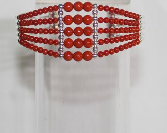 Bracelet Craft Handmade coral and Coral and silver Bracelet M7/silver
