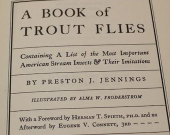 Vintage Preston Jennings A Book of Trout Flies Crown Publishing 1970  Fishing Book with Slipcover Collectible