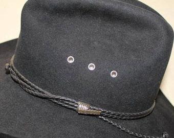 cdb27ba4 Vintage Stetson 4X Beaver Black Fur Felt Leather Band Western Hat Size 6 7/8  55 cm