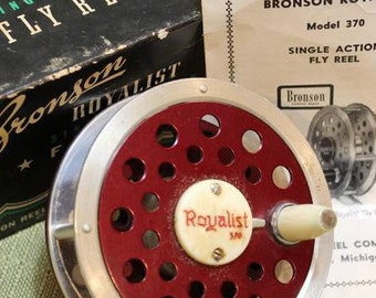 Vintage Classic Red Bronson Royalist 370 Fly Fishing Reel In Original Box and  Instructions