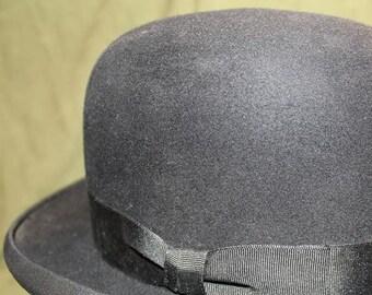 Vintage  Dunlap Superior Men's Black Black Fur Felt Bowler Dress  Hat