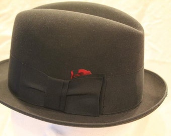 08ca7aa6 Vintage Black 3X Towncraft Fedora Trilby Homburg Dress Hat Size 6 3/4 to 6 7 /8