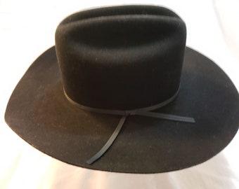 64b4ed01 Vintage Charlie 1 Horse Black Wool Felt Western Men's Cowboy Hat Size 7 1/8  57cm