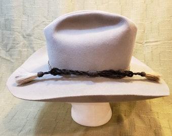 034655fbf6816 Vintage Resistol 4X Beaver Fur Felt Gray Western Men s Hat Horsehair Band 7  1 4 Self Conforming