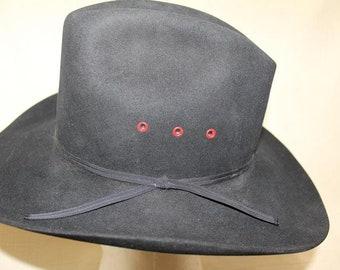 Vintage Resistol Cowboy 4X Beaver Fur Felt Black Western Hat 7 1 8 (57 cm)  Self Conforming Wallace s Cowboy Outfitters 8e09fd307f80