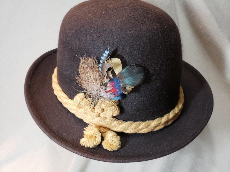 c550053559b Vintage Brown Knox Alpine Style Tyrolean Rope Hatband Felt