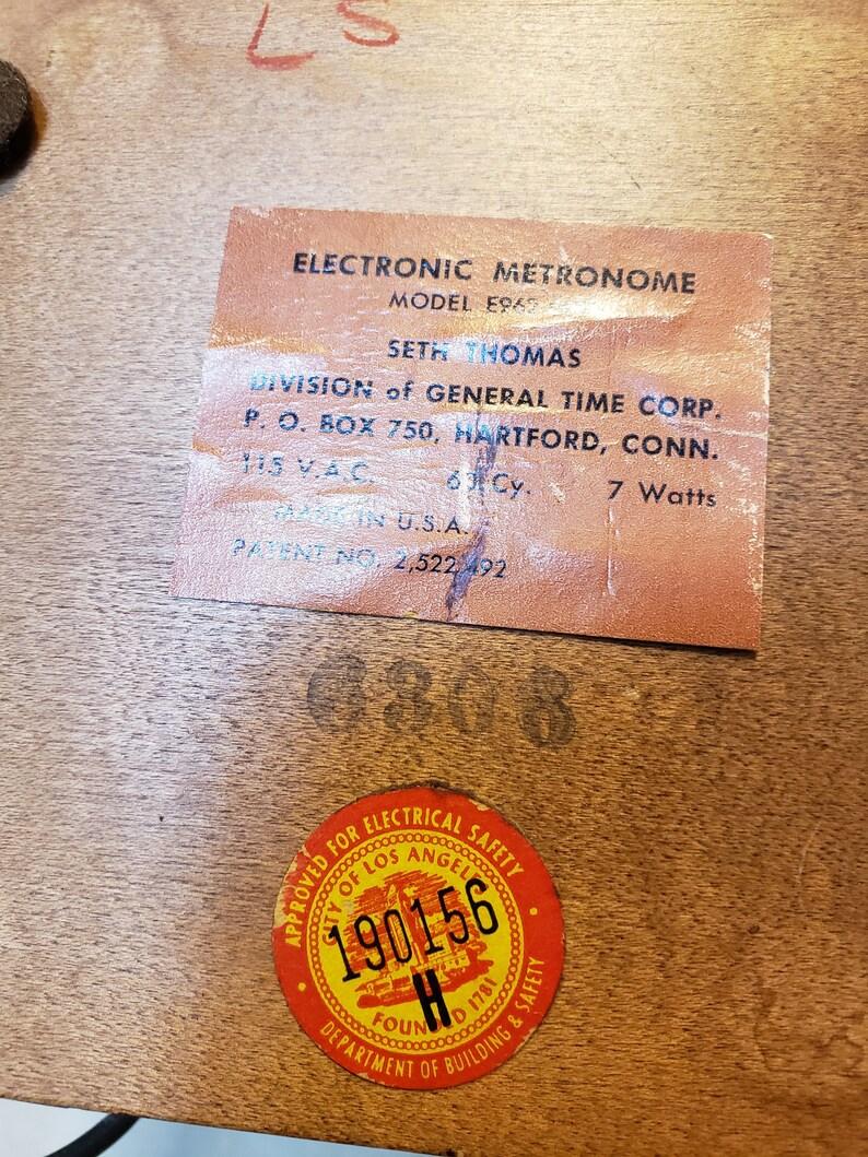 Vintage Seth Thomas Electric Mechanical Metronome Wood Case Musician Music  Student