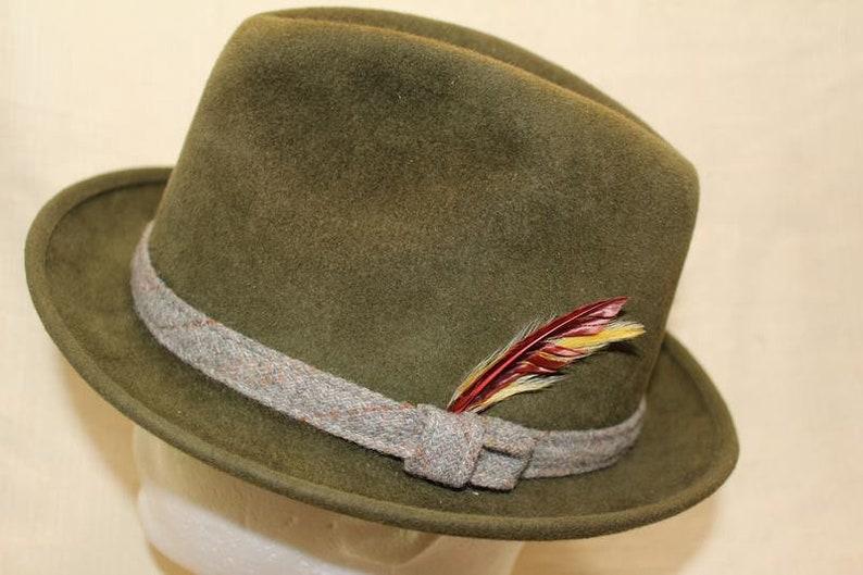 629c85f8154 Vintage Bourse Cellini Milano Green Trilby Fedora Velour Size