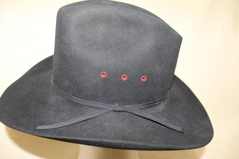 Vintage Resistol Cowboy 4X Beaver Fur Felt Black Western Hat  a116ae8a7b9f