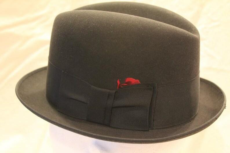 a15b89f60f9 Vintage Black 3X Towncraft Fedora Trilby Homburg Dress Hat