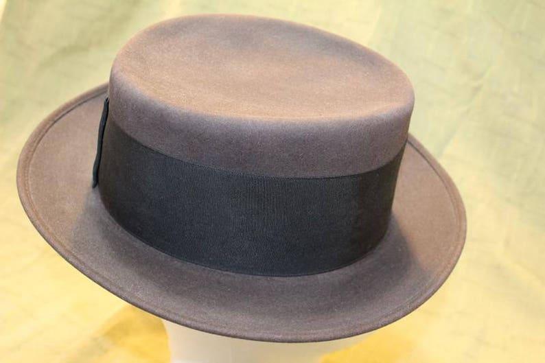 fb24ddb473f Vintage Amish Style Men s Flat Top Fedora Fur Felt Wide