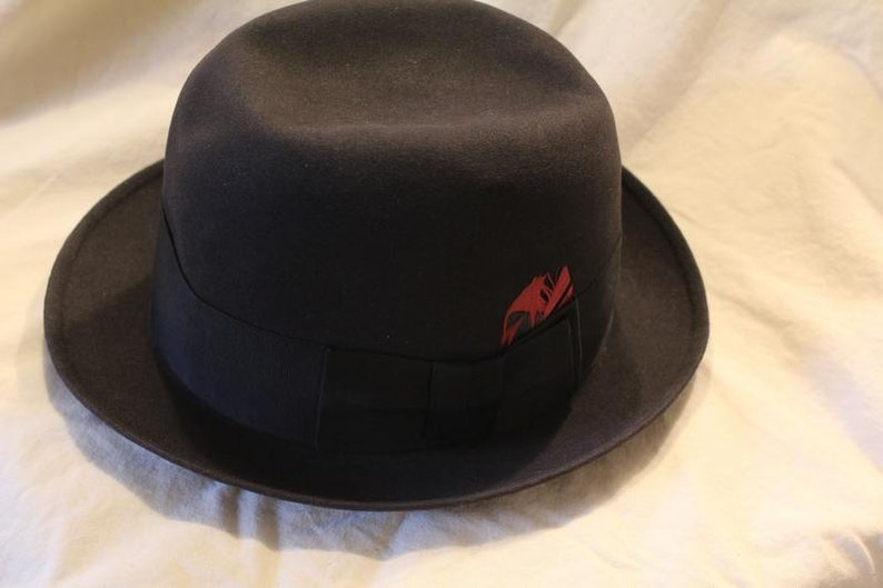 e2127f0550f Vintage Black New Yorker Fedora Trilby Dress Hat Size 7 1 8