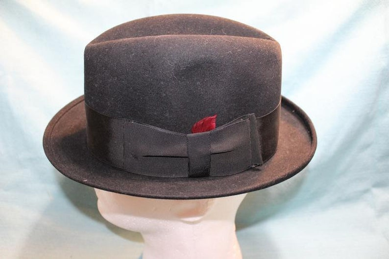 aab3b407237e2 Vintage Black Knox Edwards Fifth Avenue Felt Trilby Homburg