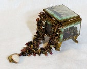 """Bronze, brown, green dark colors stone mix, handmade original unique necklace  """"An Autumn"""" of seed beads, stone mix and jasper"""