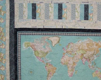 World map quilt wall   Etsy