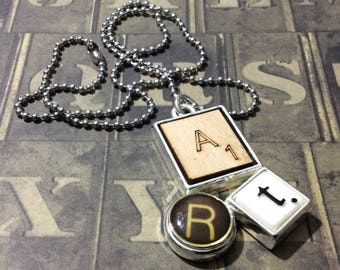 "Scrabble Pendant 18"" Necklace, Chain Necklace"
