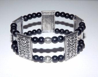 Black Glass Bracelet, Vintage Bracelet, Silver Bracelet