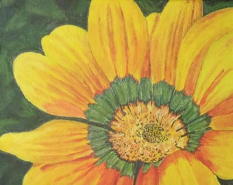 "Sunflower, 10""x10"", original acrylic painting on wrapped canvas."