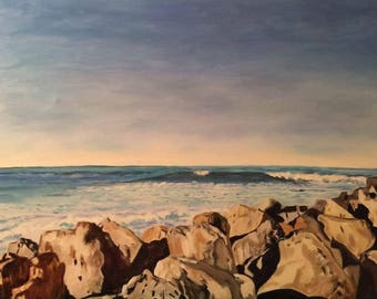 """Sea With Rocks, oil painting on stretched canvas, 24""""x36"""". Framed."""